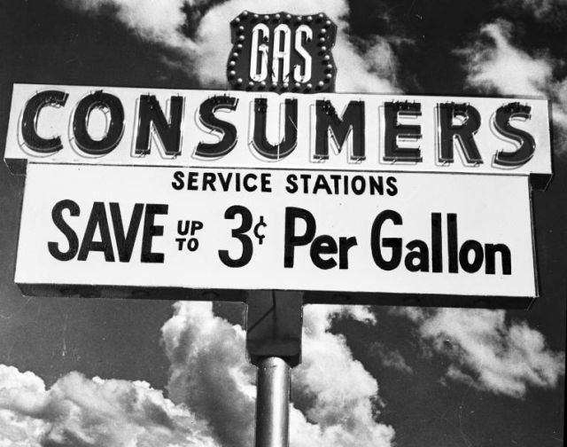 Advertising photograph of Consumers Service Station signage on February 2, 1961