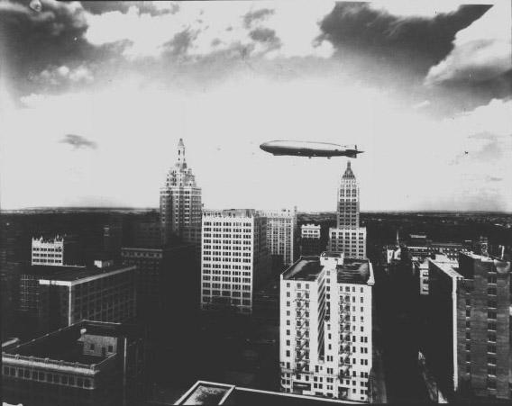Dirigible over downtown Tulsa