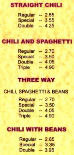 Ike's Chili Menu (prices not current)