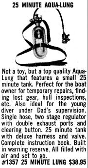 25 minute Aqua-Lung from the Central 1960 catalog