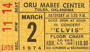 1974 Tulsa Elvis ticket, courtesy of David Pickle