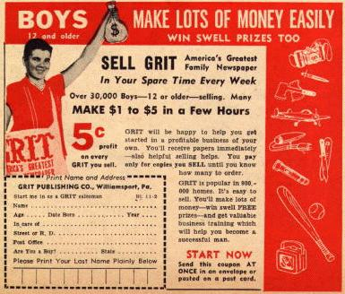 Grit ad from 1963 'Boy's Life' magazine