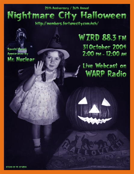 Nightmare City Halloween live webcast on WARP Radio Network, October 31, from 2 PM until 12 AM CST