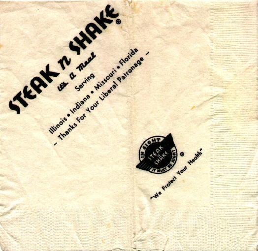 1967 Steak and Shake napkin from the webmaster's collection