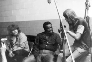 """Duck"" Dunn, Freddie King and Leon Russell at a Shelter recording session, courtesy of Steve Todoroff"