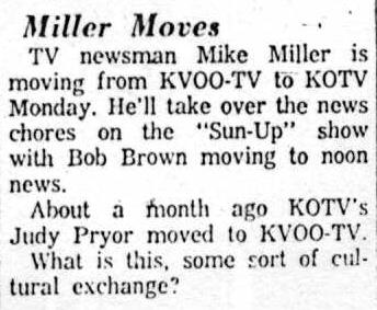 Tulsa World, July 17, 1965, re Mike Miller, Bob Brown and Judy Pryor
