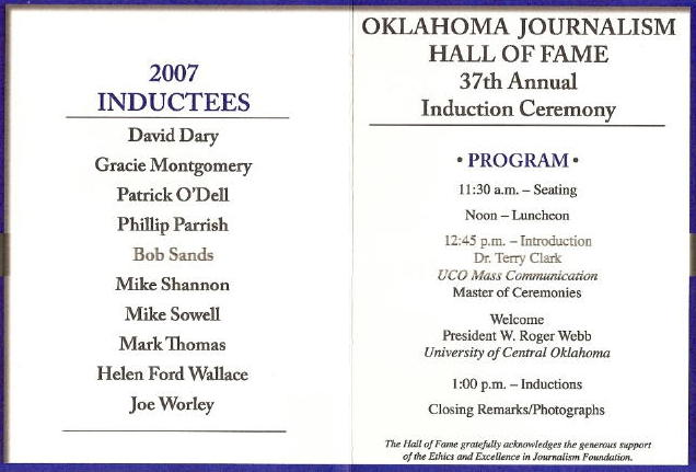 OJHOF 2007 program, courtesy of Jim Hartz