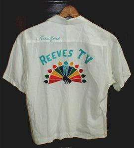 Reeves TV shirt with the NBC peacock in living color
