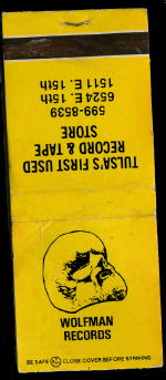 Wolfman Records matchbook cover