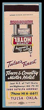 Town and Country Motor Hotel matchbook