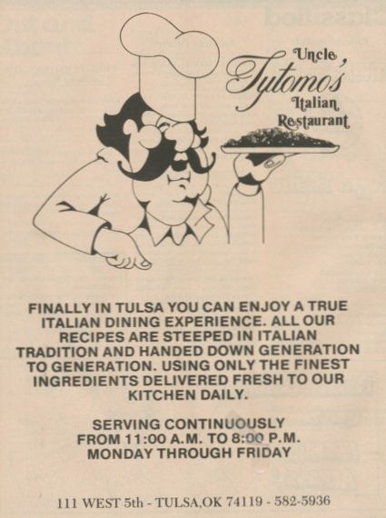 Uncle Tytomo's ad on the back cover of 'Tulsa Time' magazine, May 1983 issue
