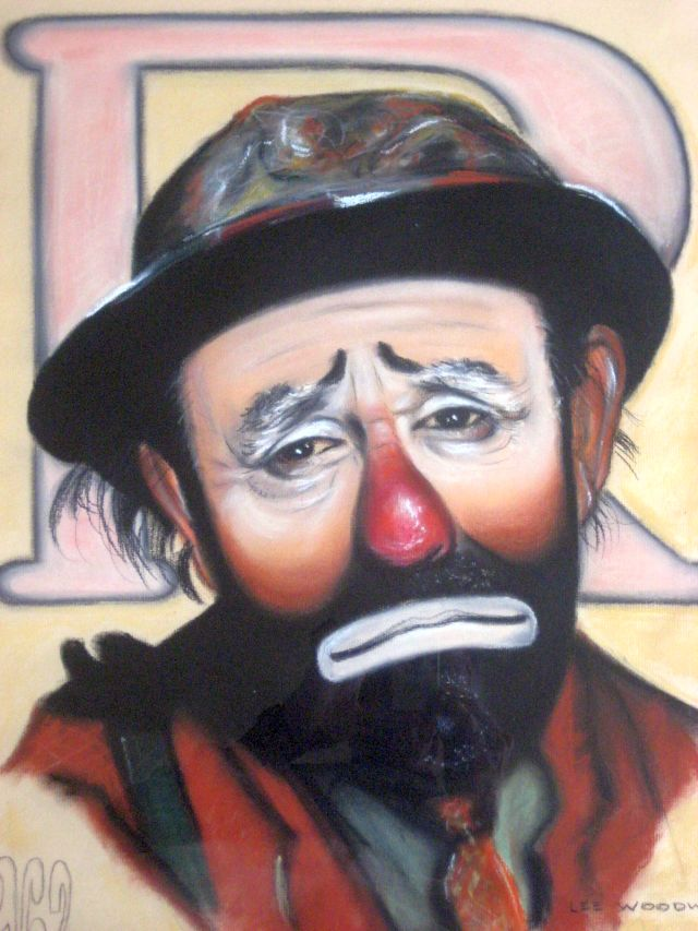 Pastel of Emmett Kelly by Lee Woodward