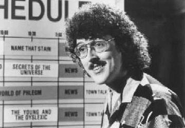 Weird Al at the schedule board